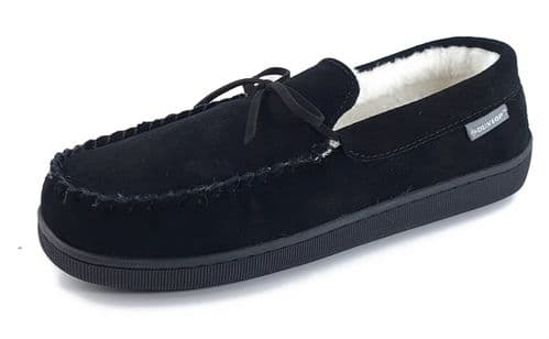 Dunlop Joshua Suede Leather Moccasin Memory Foam Mens Slippers Black
